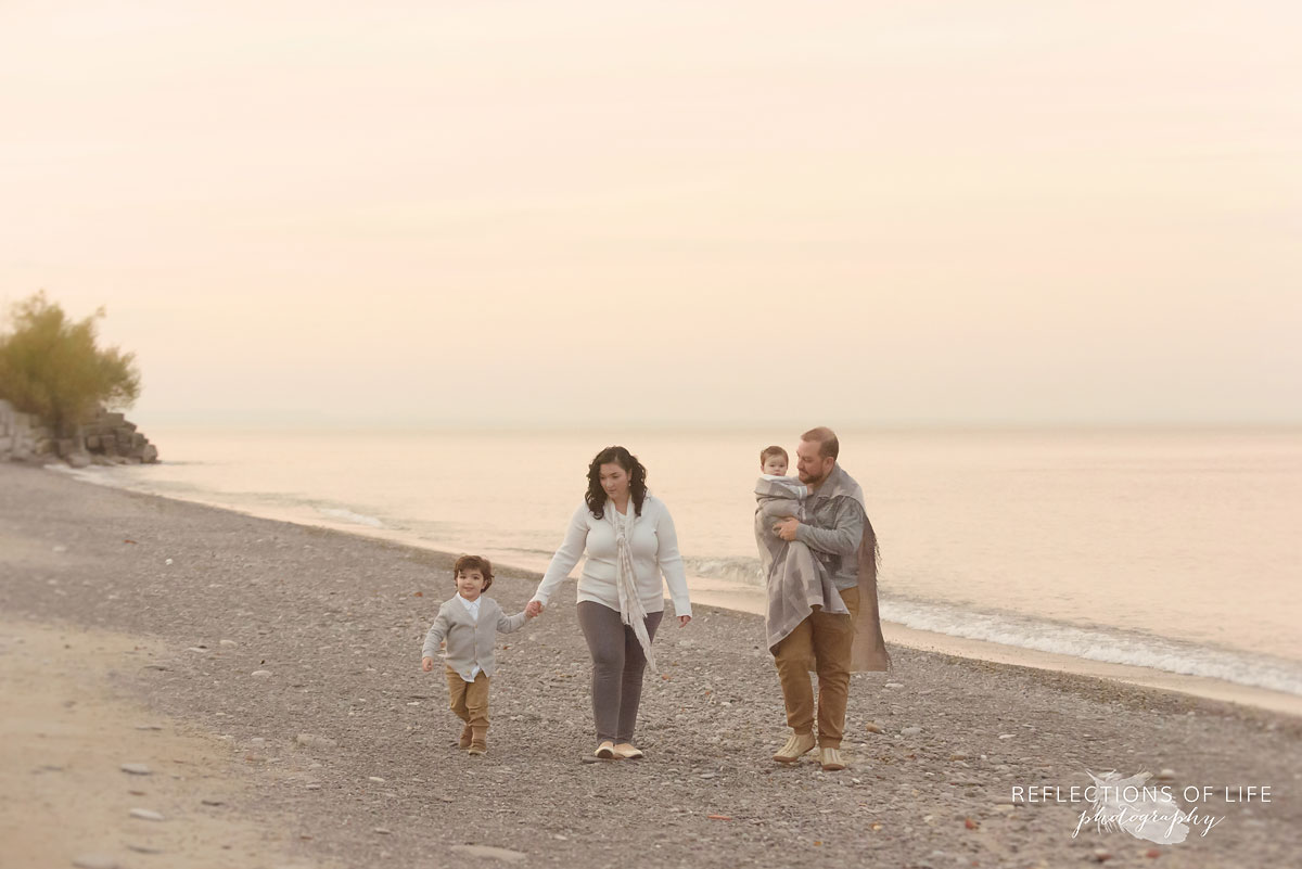 Grimsby family photographer of people on the beach at sunset