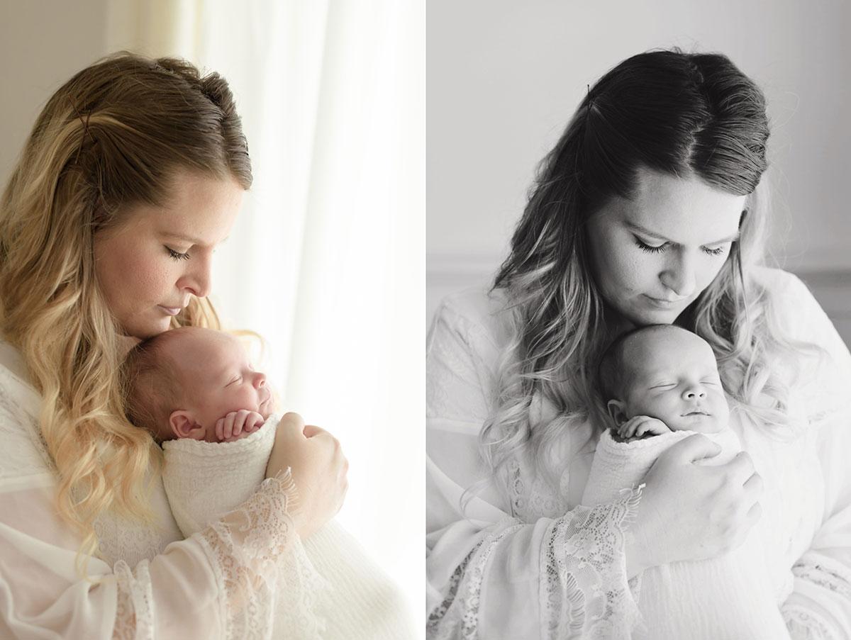 mommy snuggling in to her newborn baby boy in Niagara Newborn Photography studio 015
