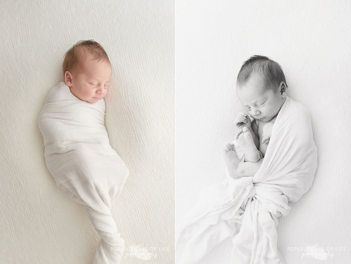 Niagara newborn baby photography of little boy swaddled in white