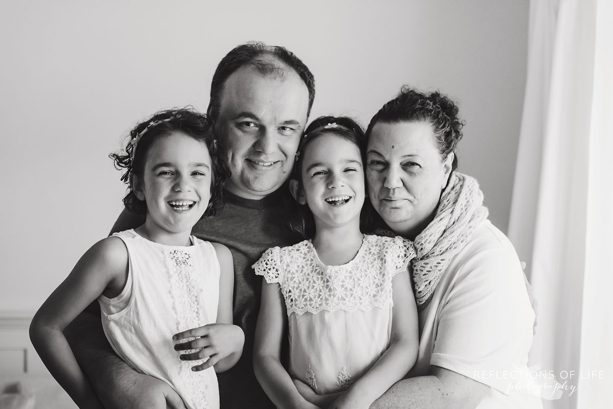 family of four natural light black and white