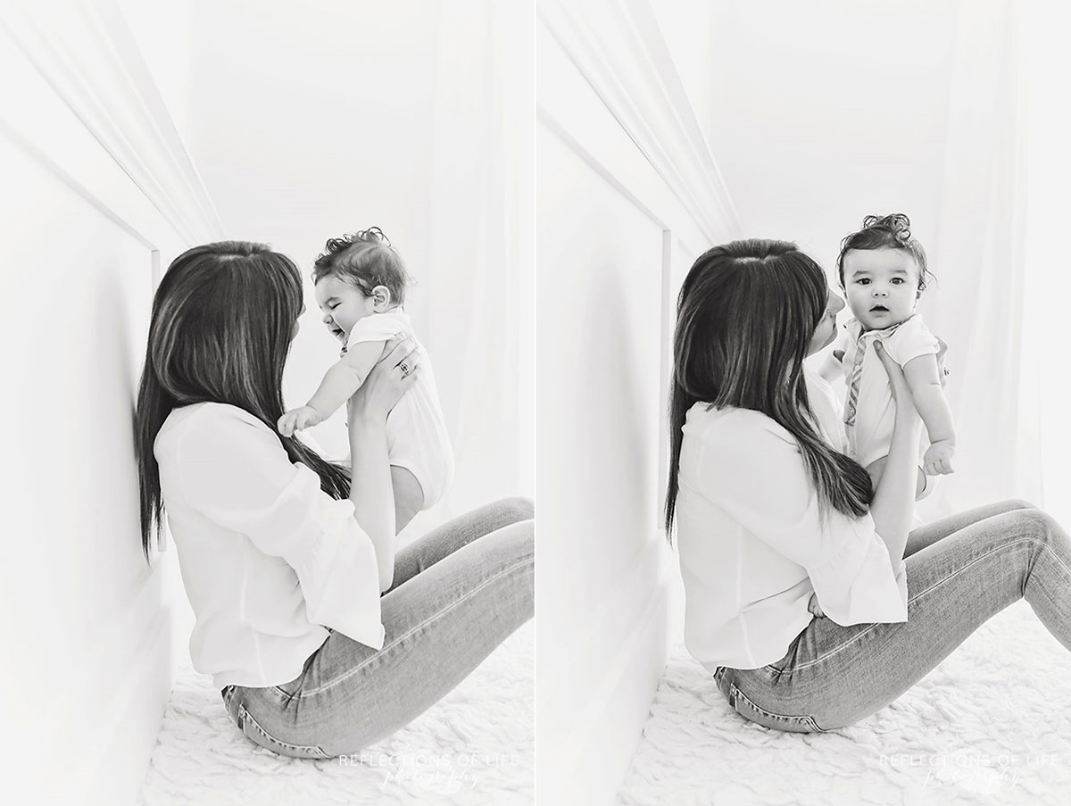 black and white photos of little boy playing games with his mom