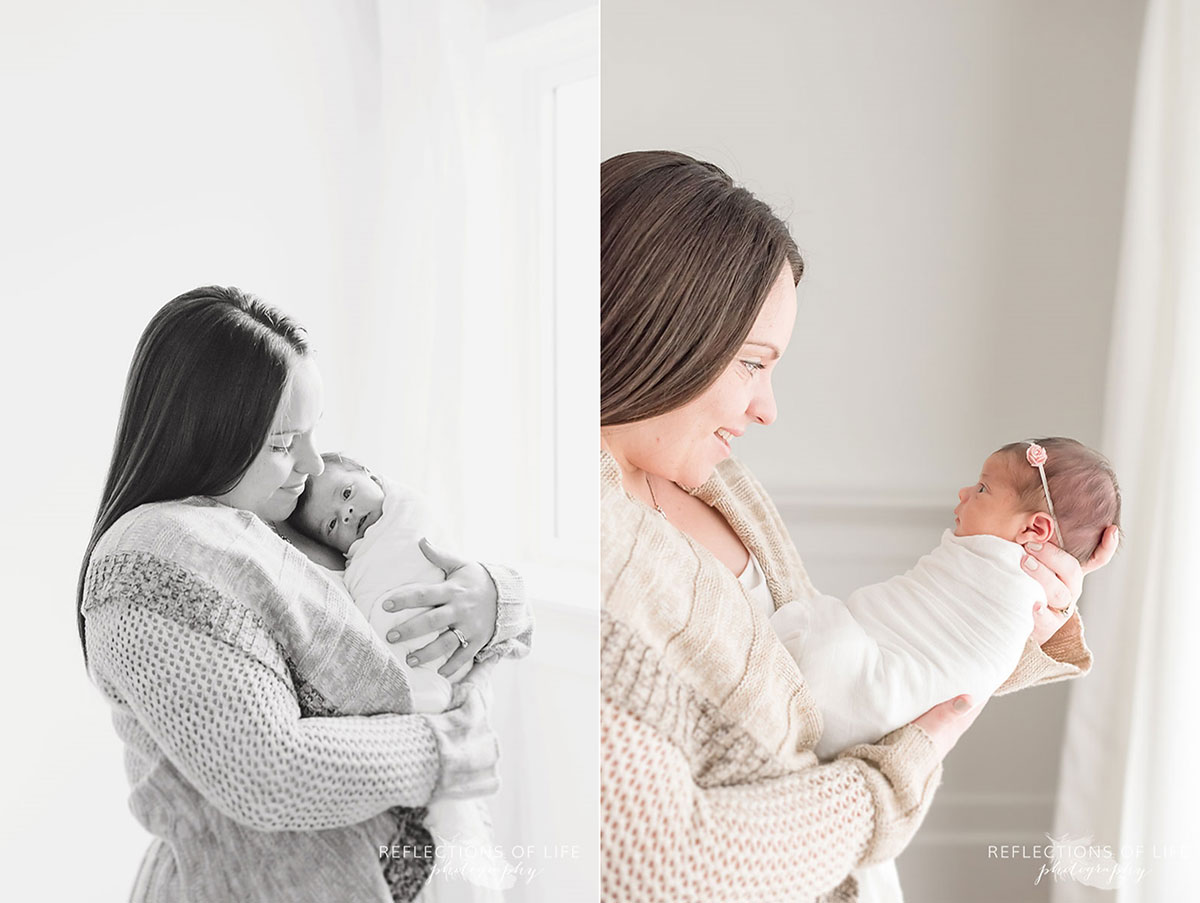 Newborn baby girl and mother photography