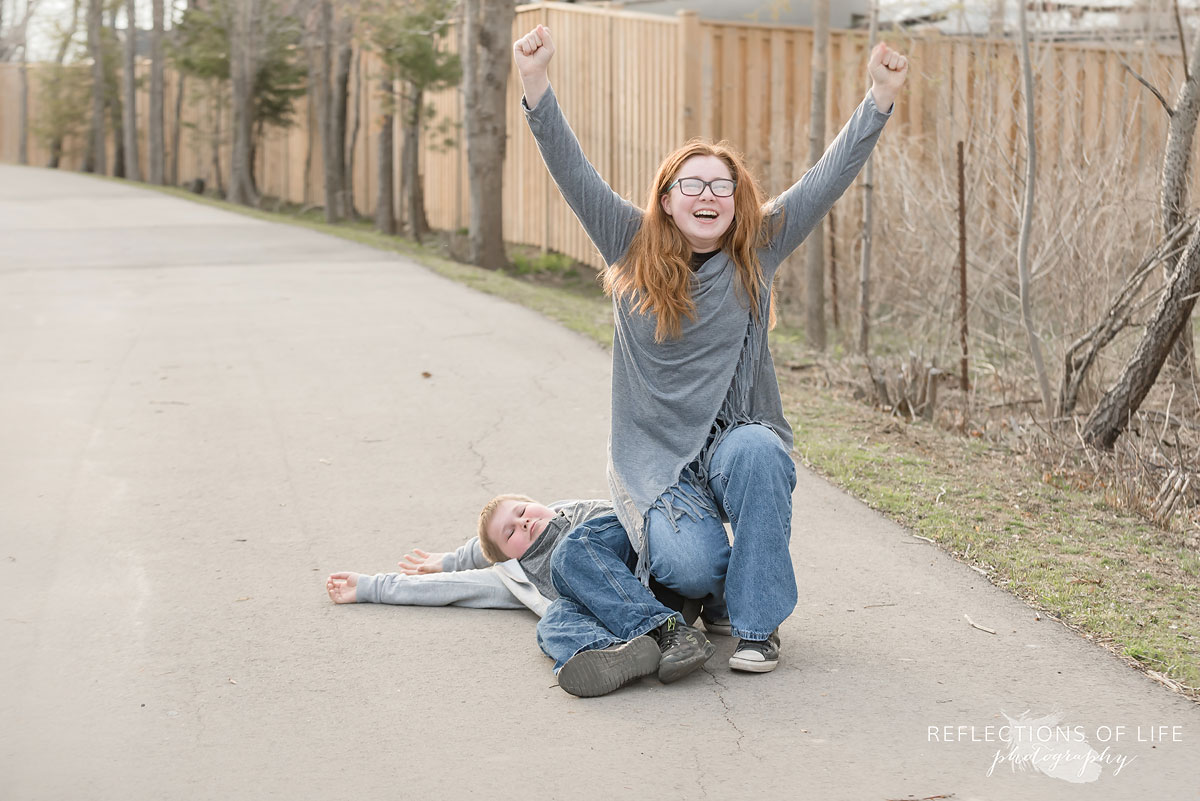Fun candid brother and sister photography
