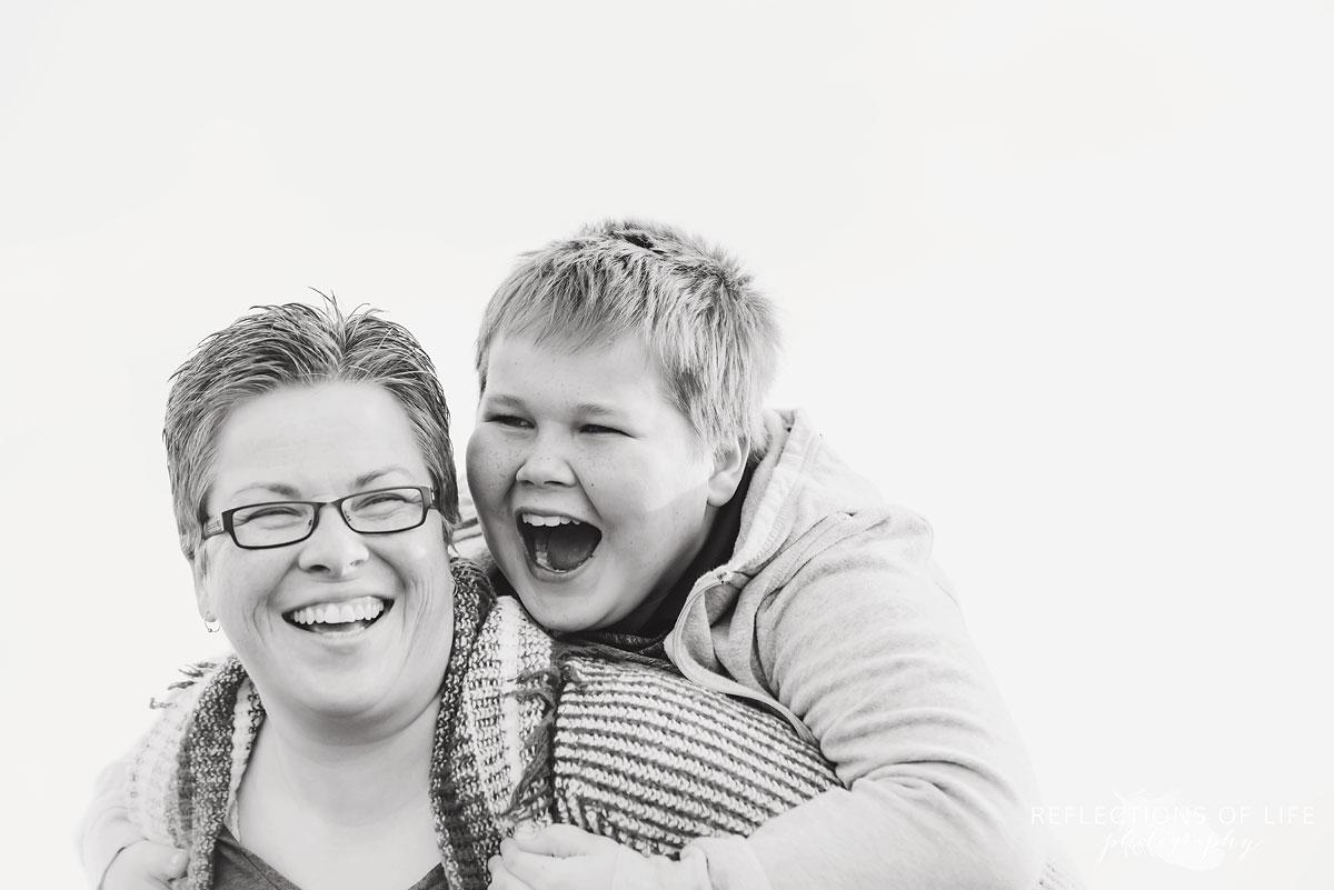 mother and son fun piggyback