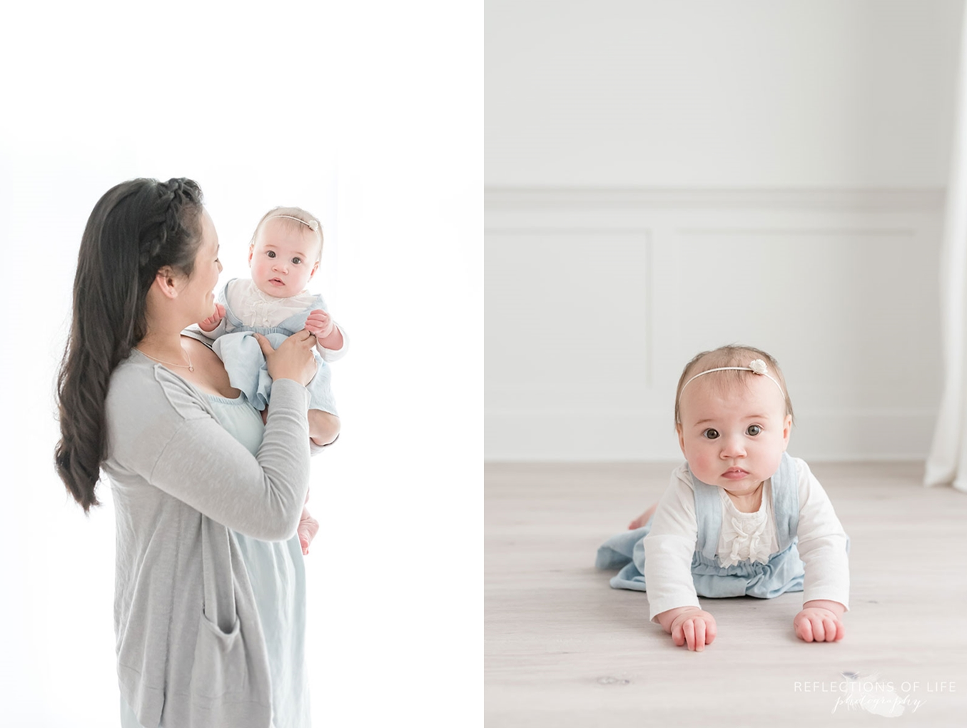 Mother and baby photoshoot in white studio