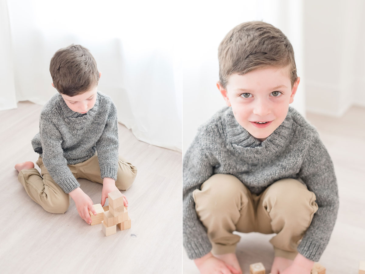 Niagara child photography collage of little boy playing blocks and smilling at the camera