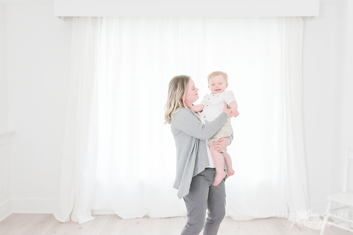 White background photography mother and baby