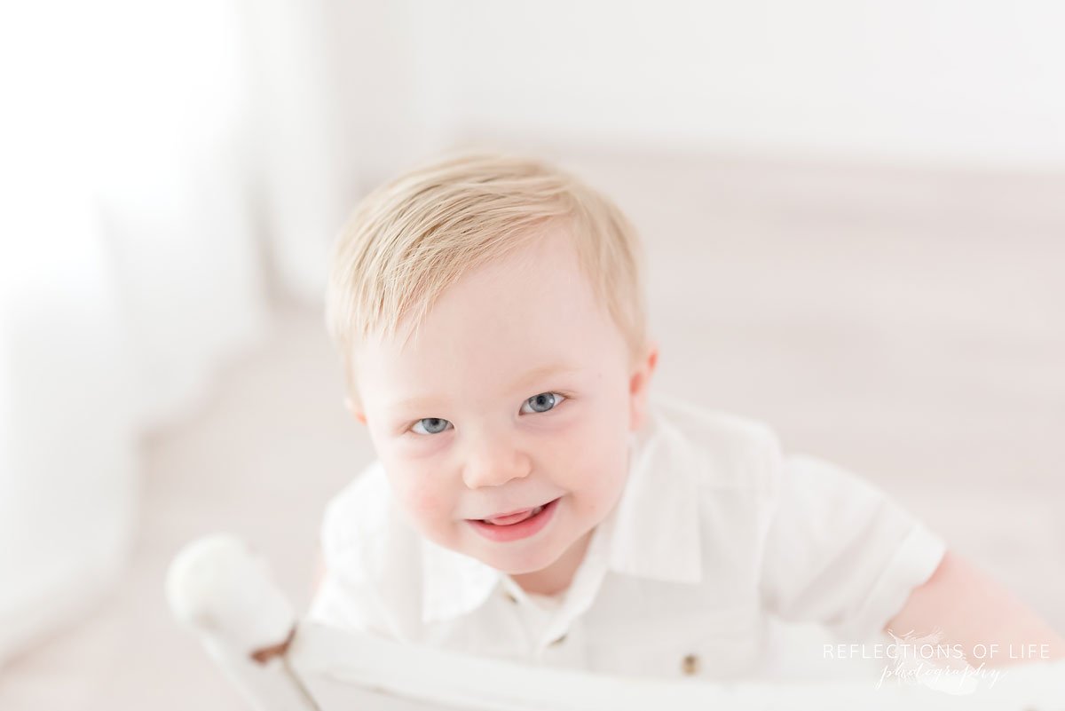 White background photography baby smiling