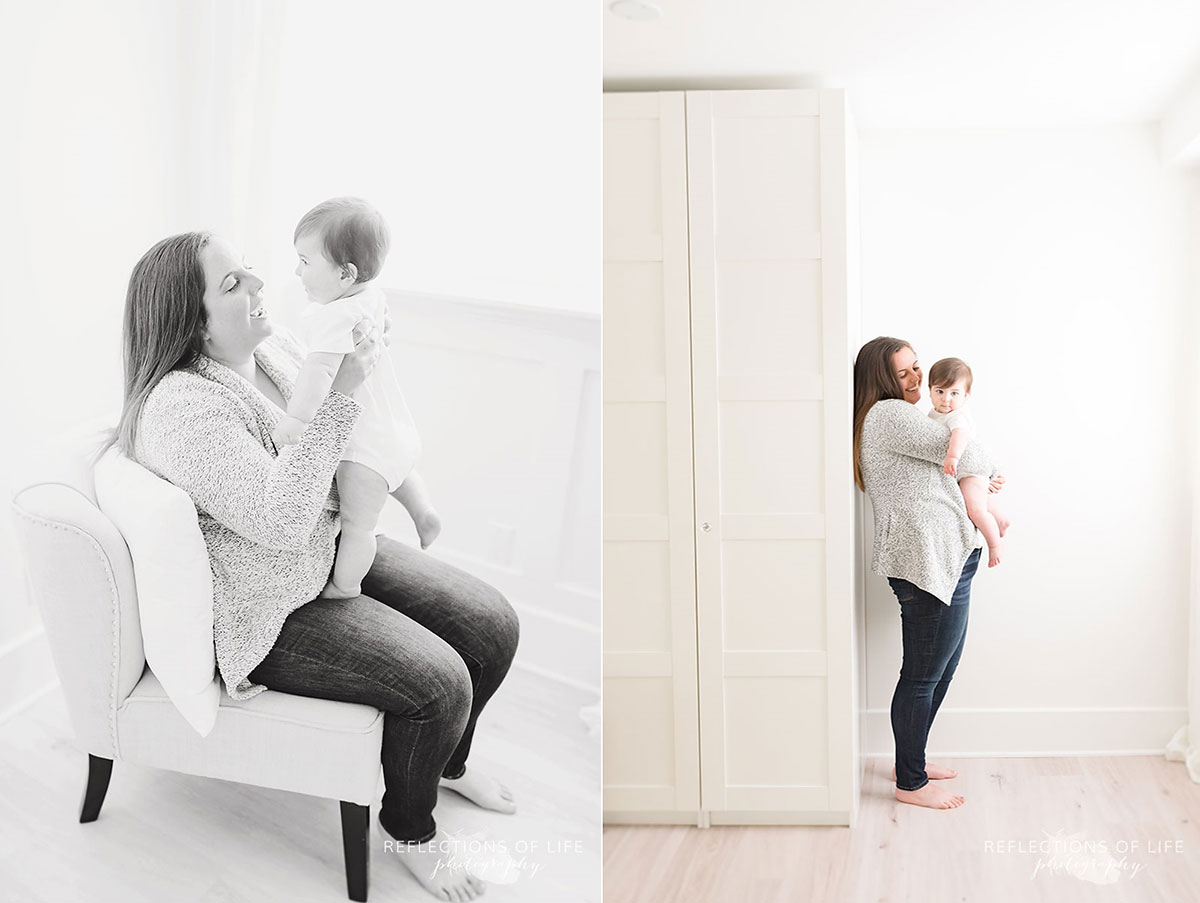 Mother holding baby in white studio Grimsby Ontario