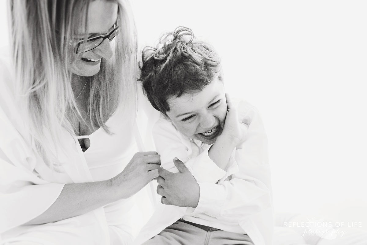 black and white portrait of mother and son