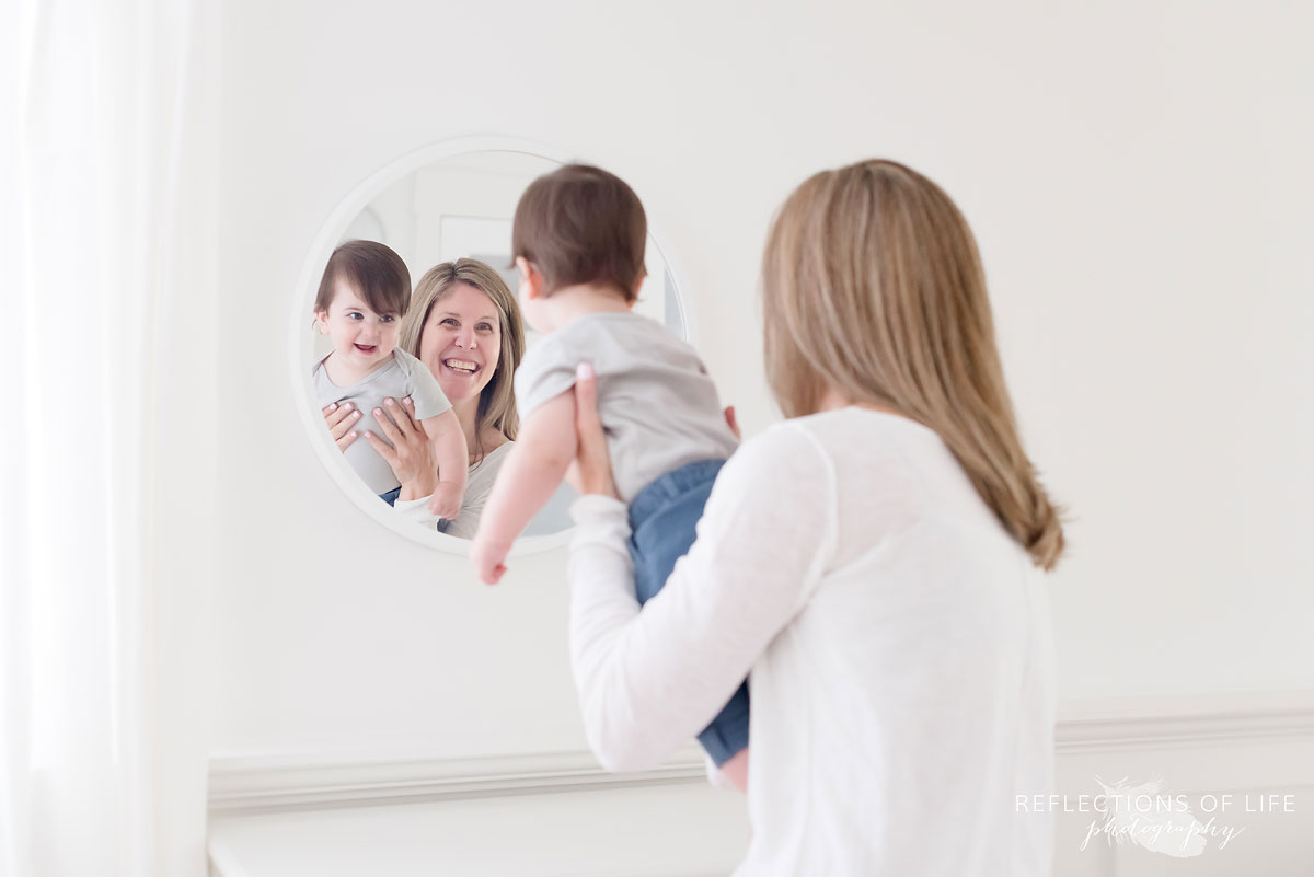 Grandma looking into mirror with Grandson Grimsby Ontario studio