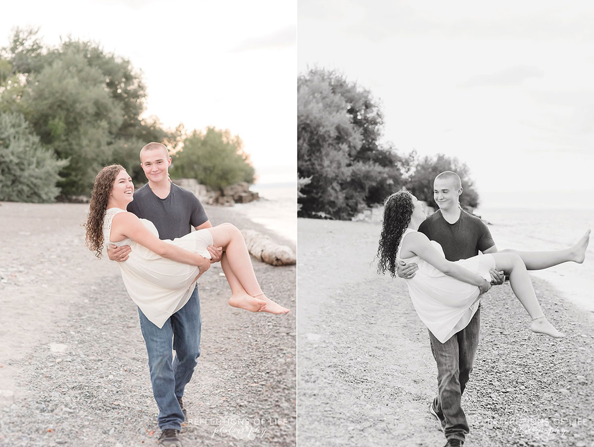 Boyfriend gracefully carrying girlfriend along the beach