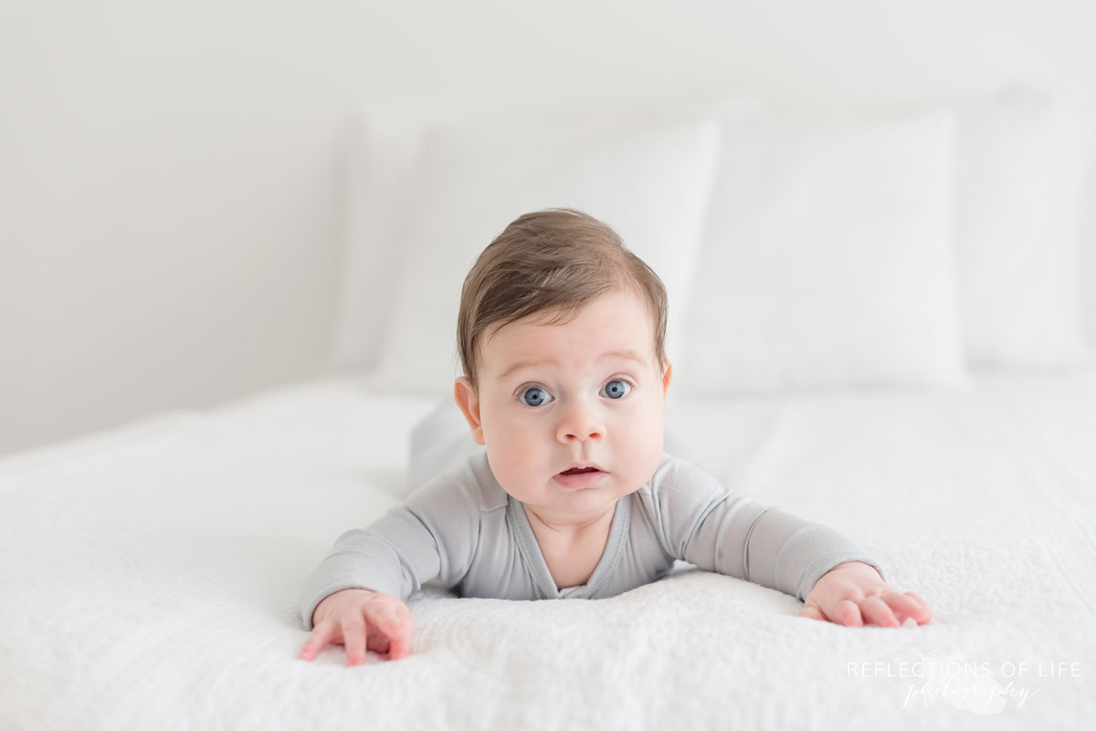 baby on white couch
