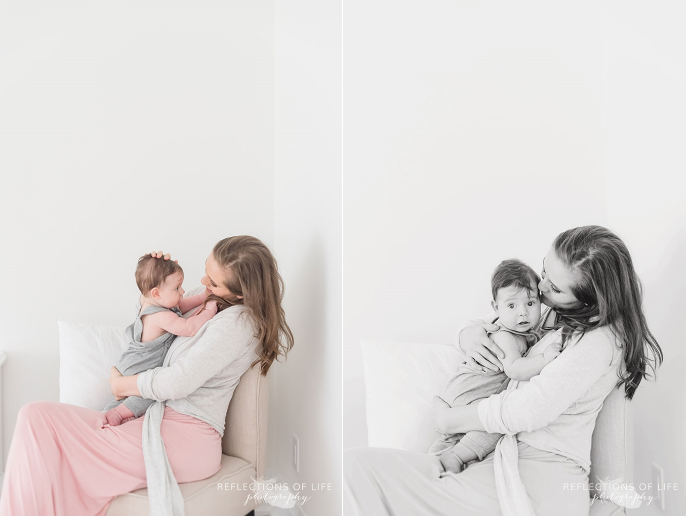 mom and baby on chair in white studio grimsby