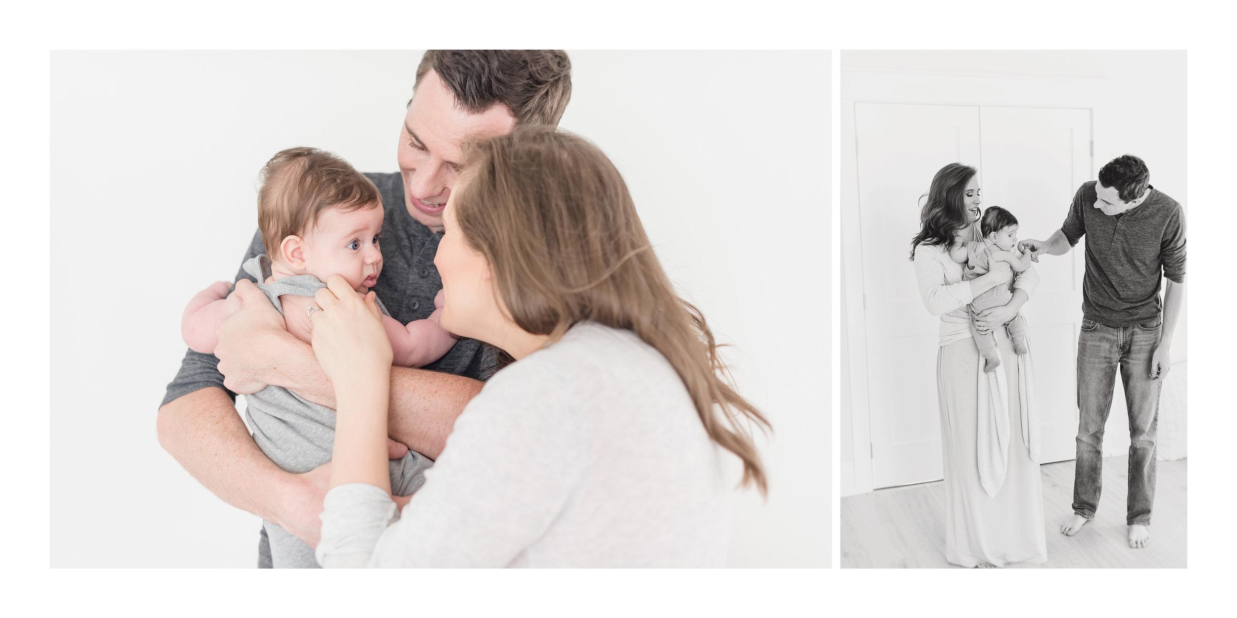 family in white studio