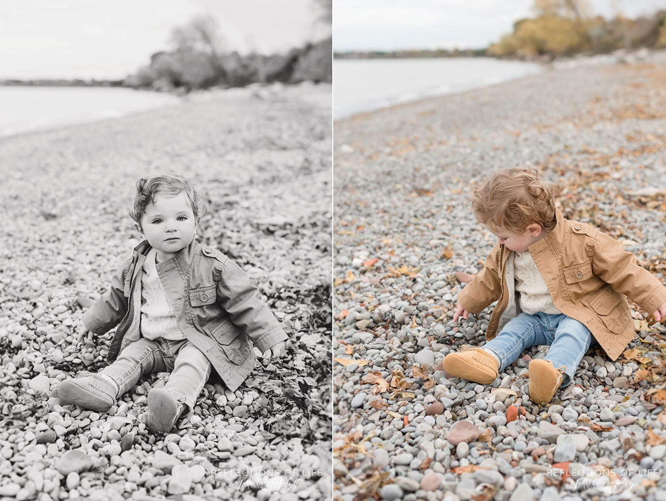 child sitting on beach looking at the rocks