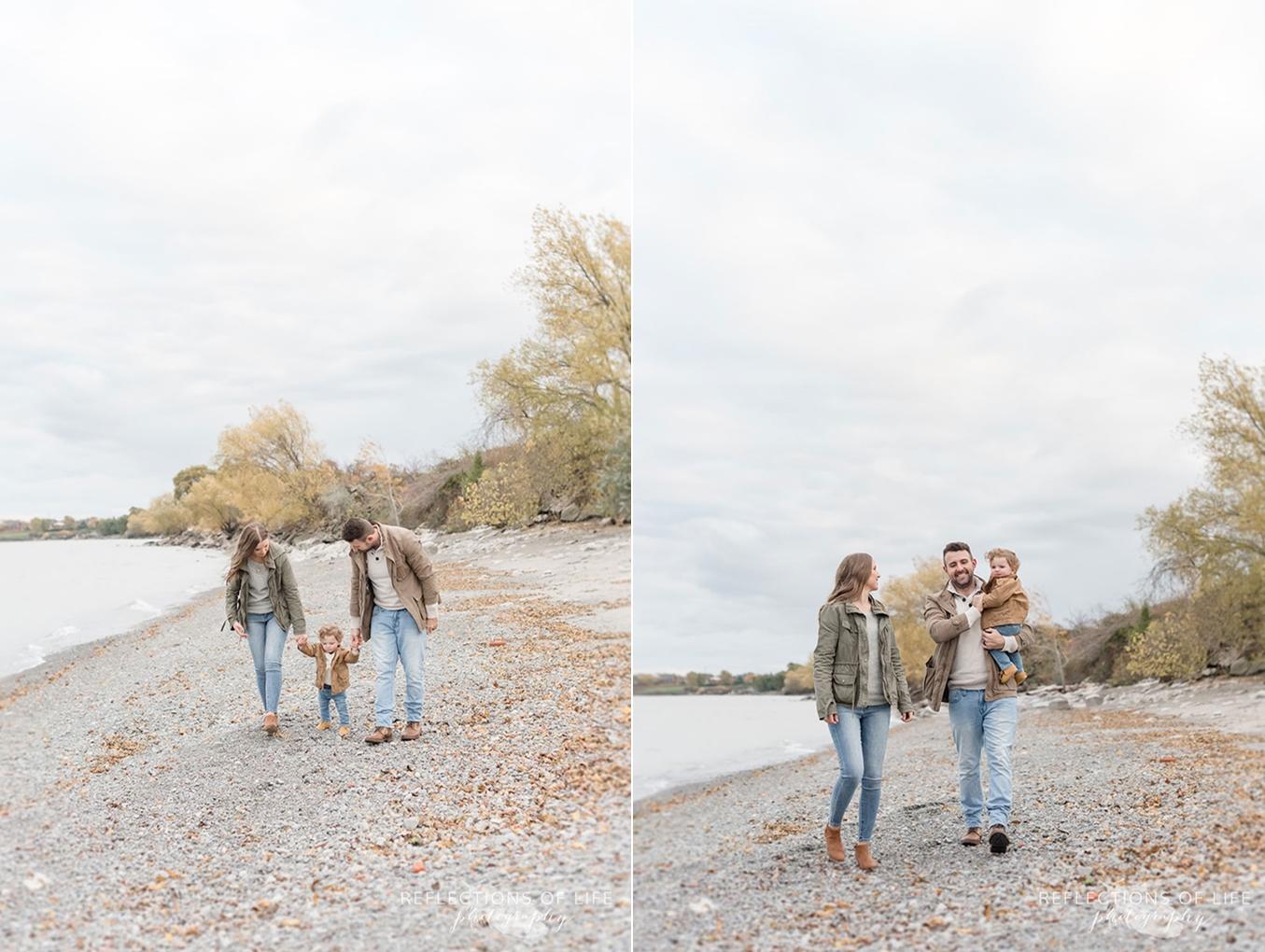 family walking along grimsby beach