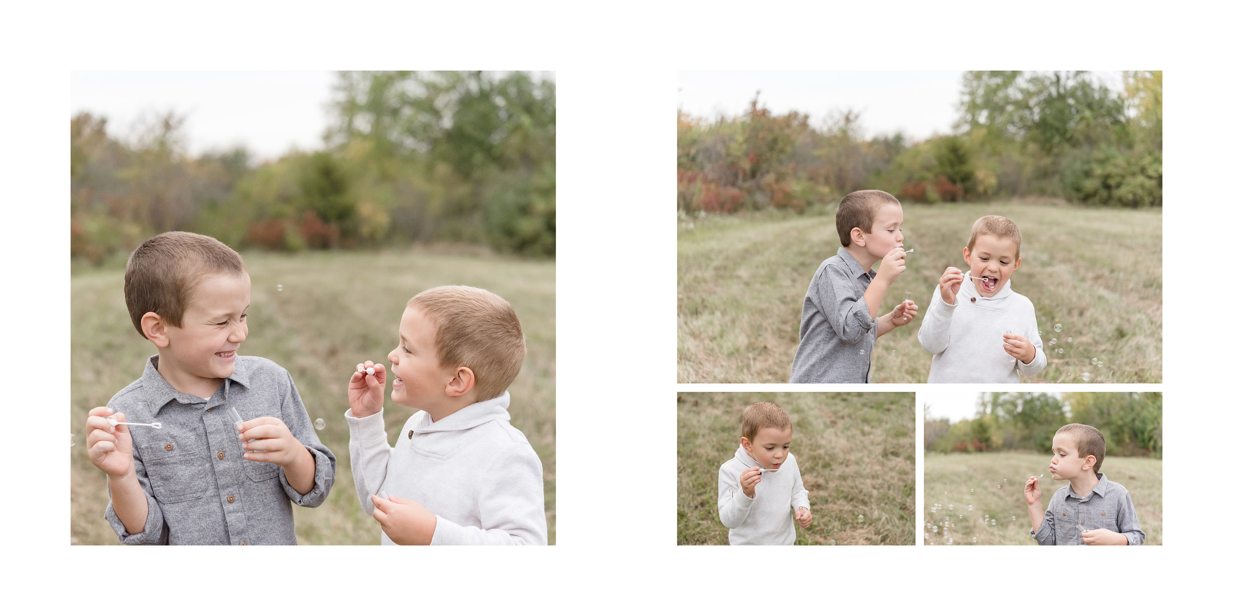 Brother blowing bubbles
