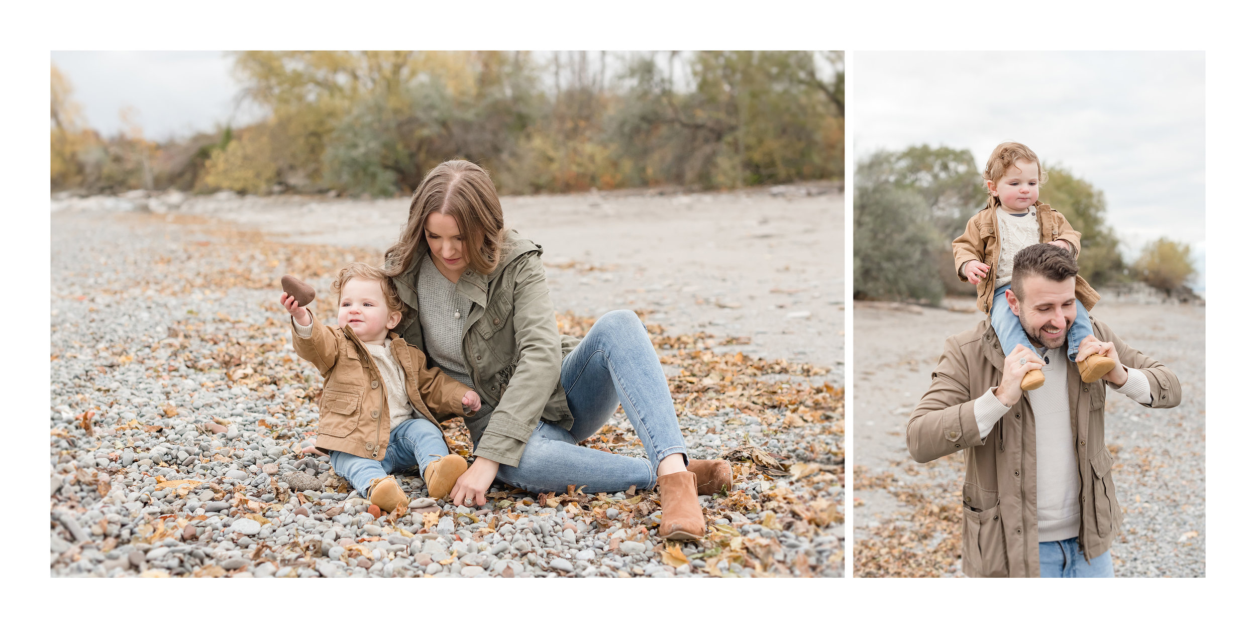 family playing with rocks on the beach