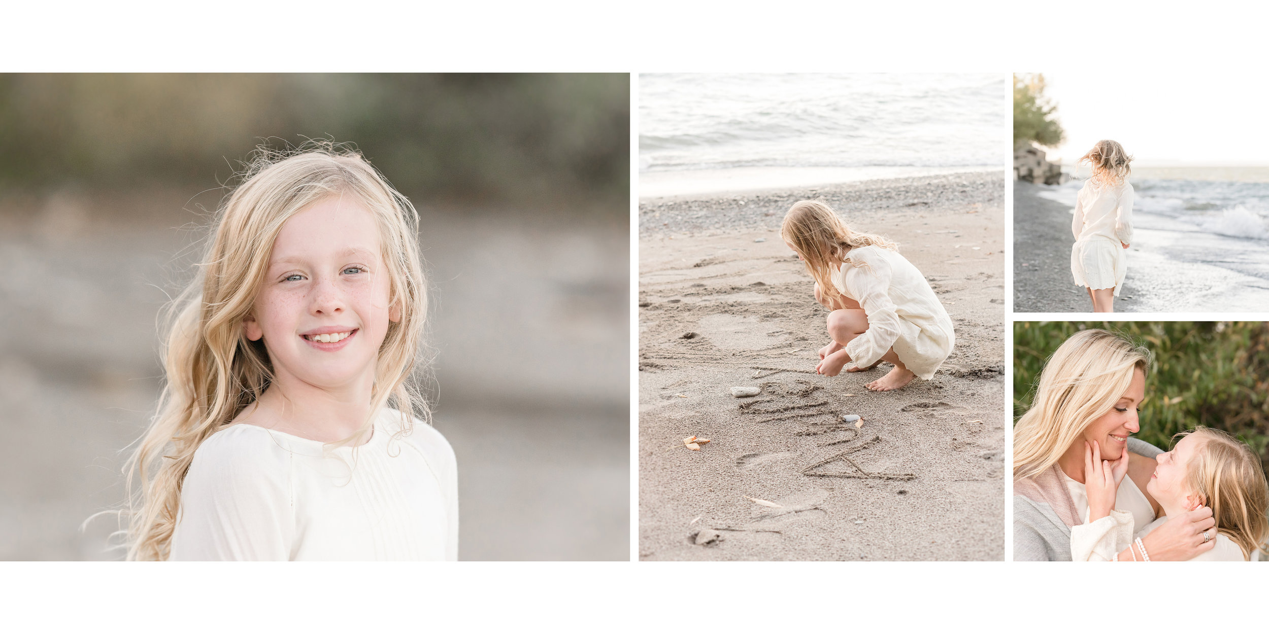 little girl playing on beach