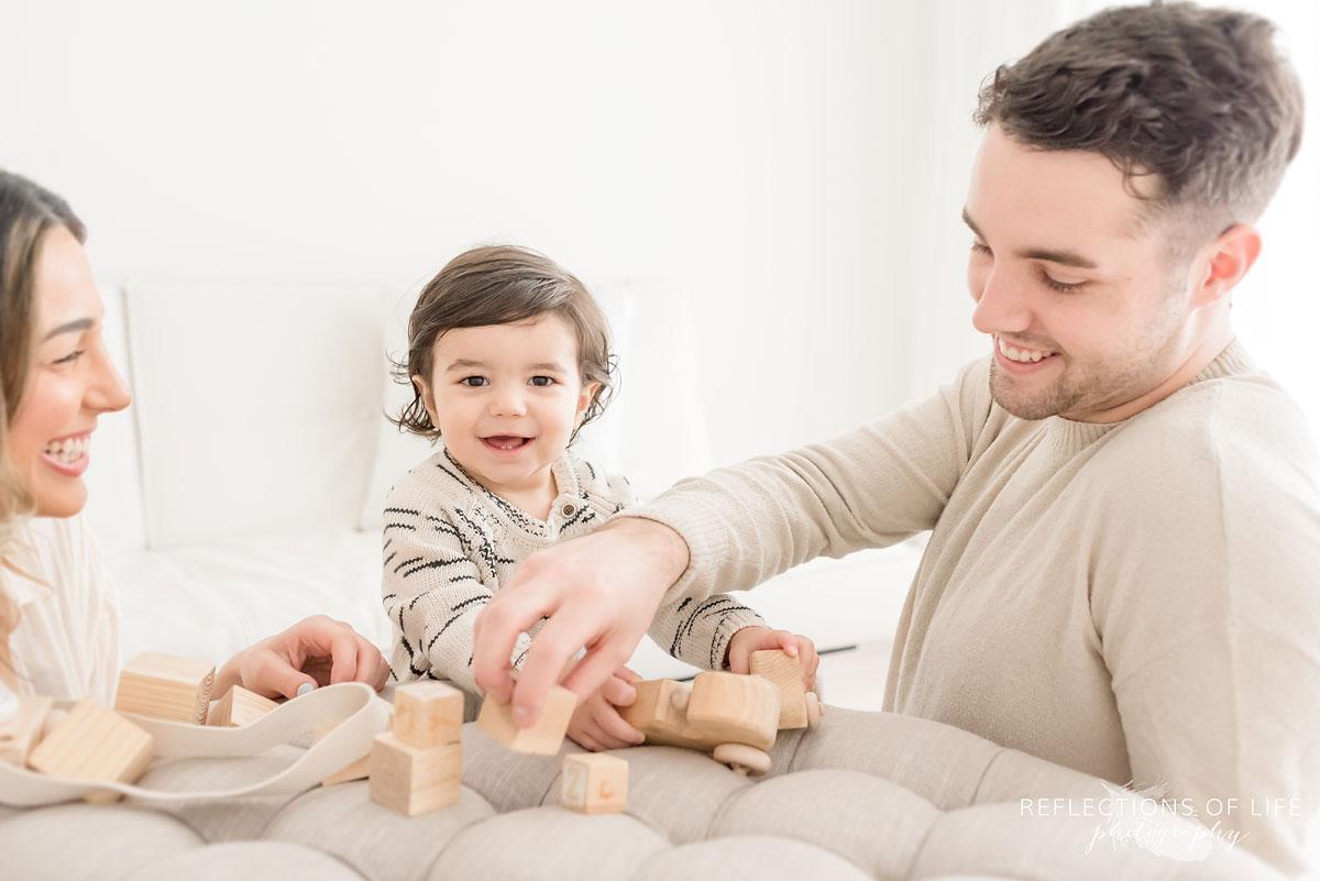 Family building blocks in white stuido