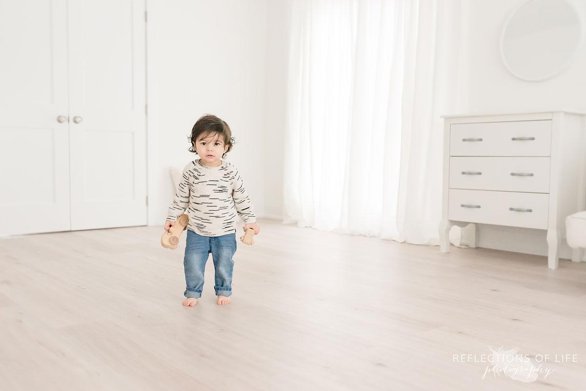 little boy in photography studio