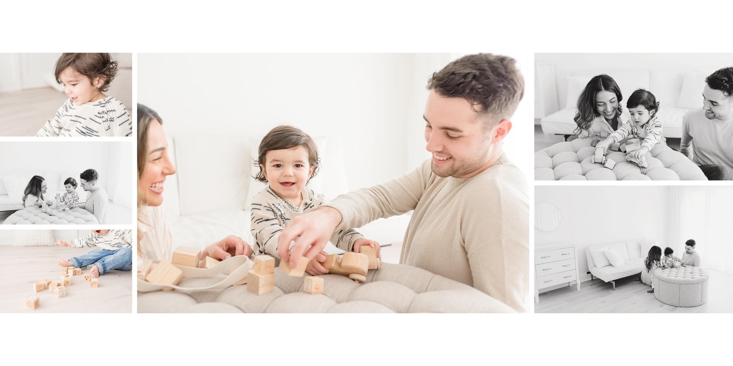family building blocks in white studio