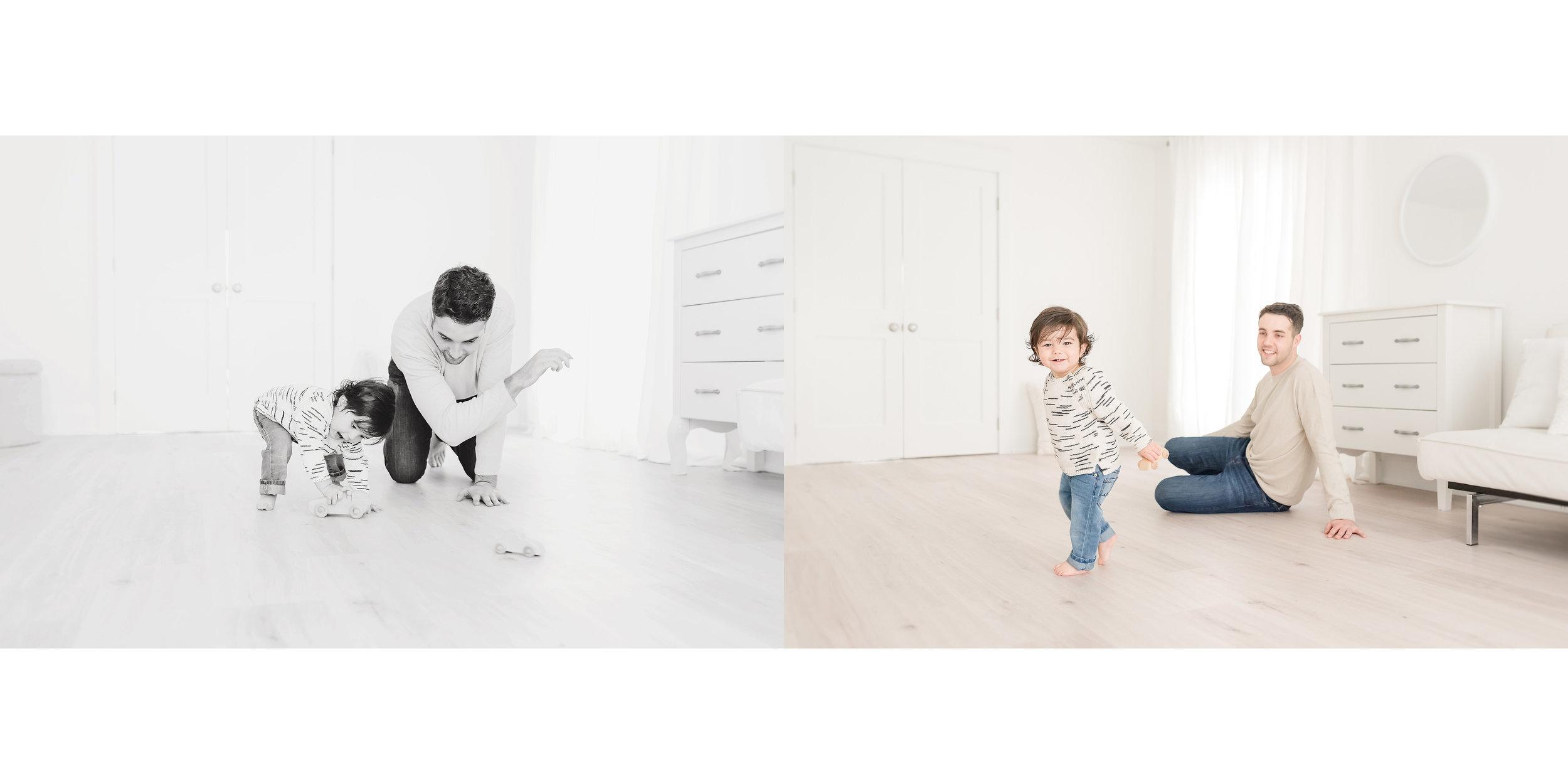 father and child in white studio