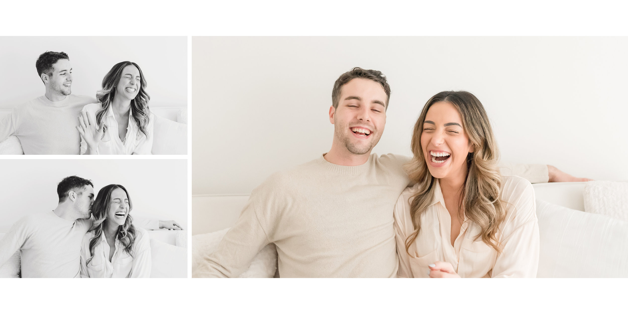 husband and wife laughing together