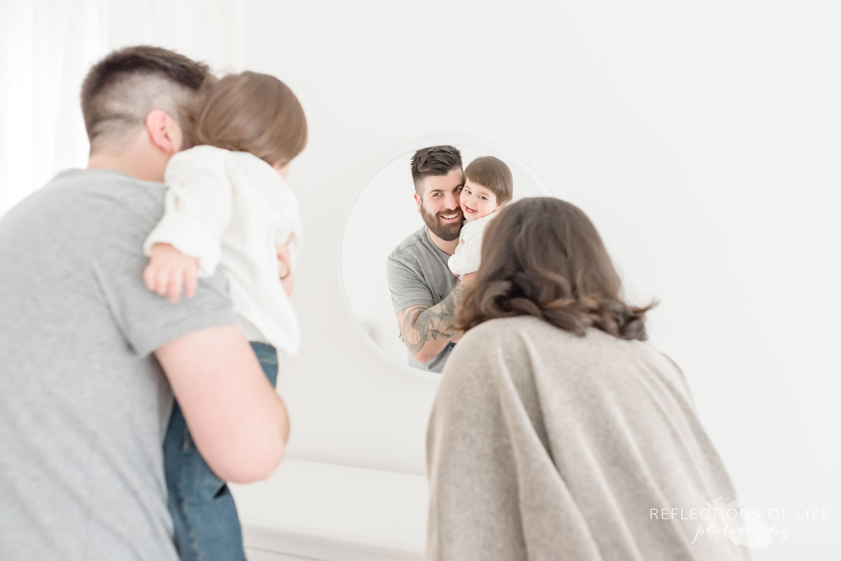 Family looking in mirror