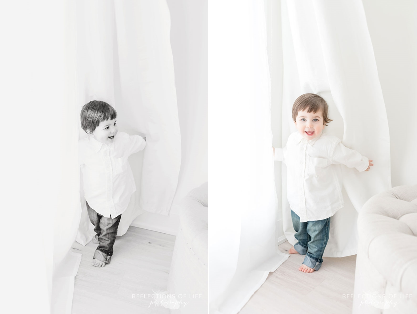 Little boy playing in curtains
