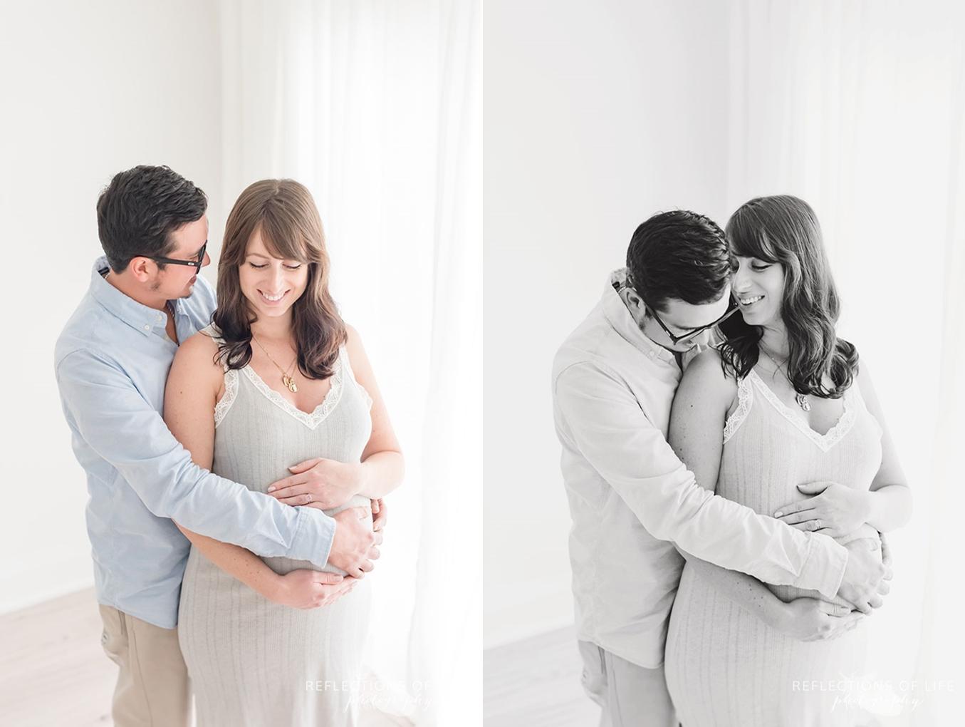 husband supporting new mama
