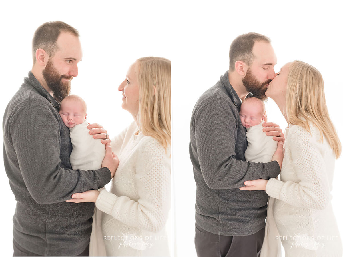 Two photos of cuddling family as mom and dad share a kiss in natural light studio