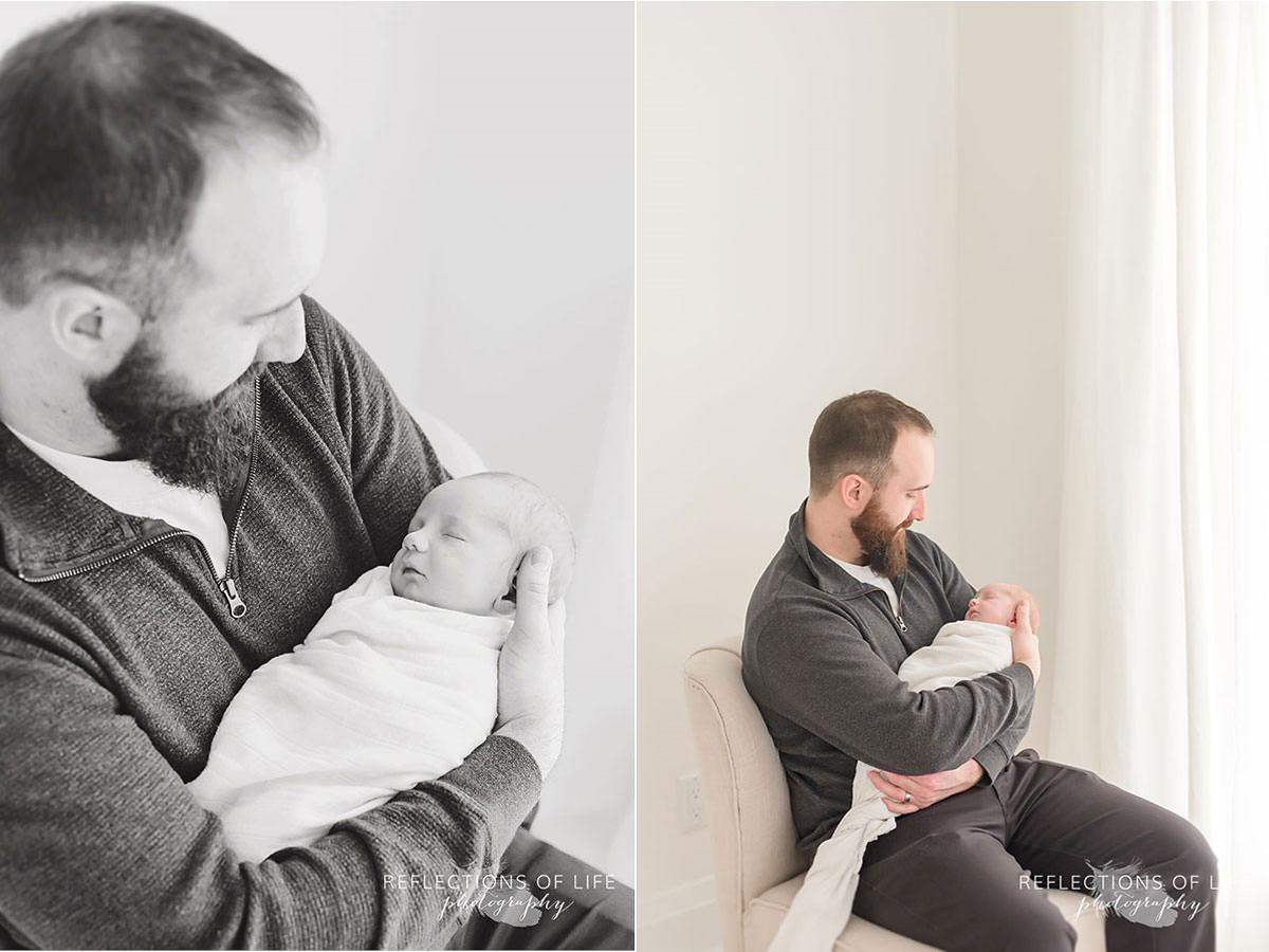 Two photos of dad watching his son sleep in black and white