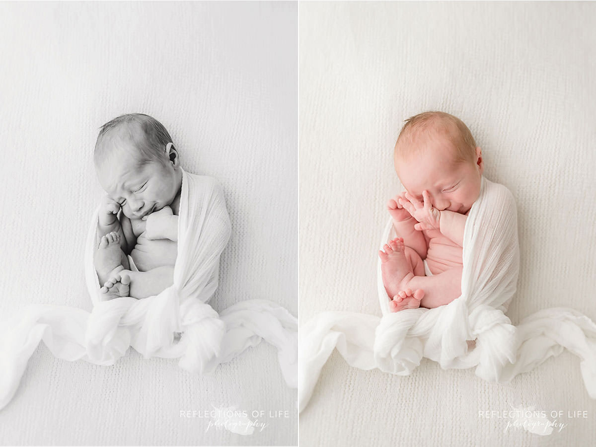 Newborn boy wakes from his long nap in two photos black and white