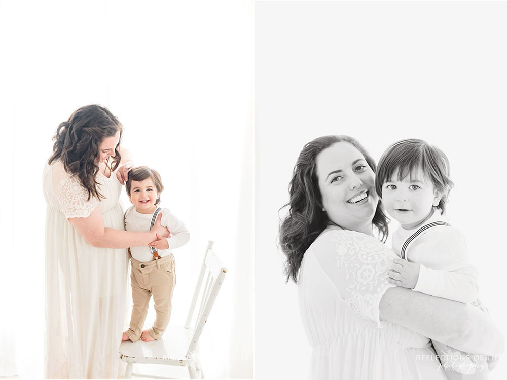 Baby and mom photography in natural light studio Grimsby Ontario