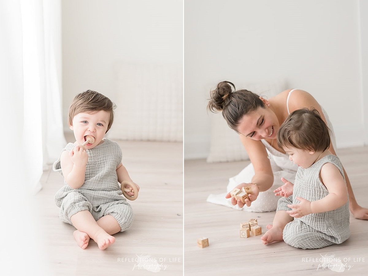 Two photos of son playing with toys with his mama in natural light studio.jpg