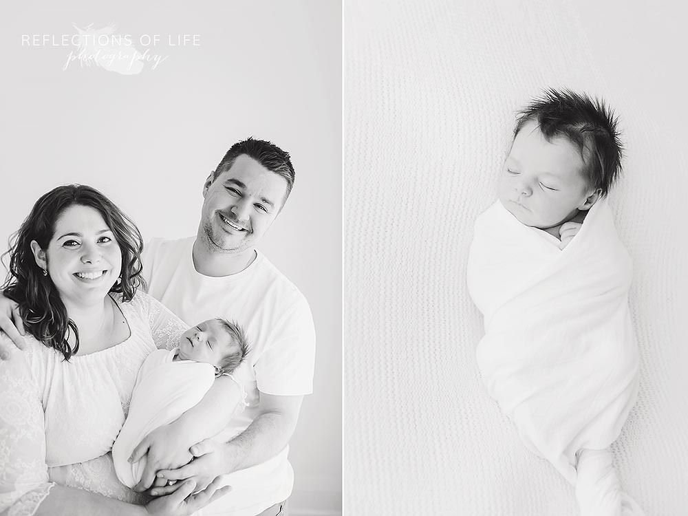 family of three smiles at the camera and a close up of newborn baby