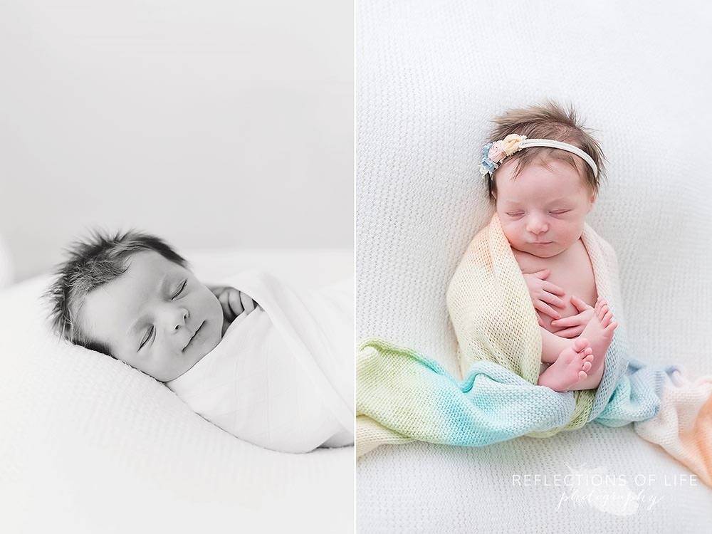 baby sleeps in rainbow scarf in black and white