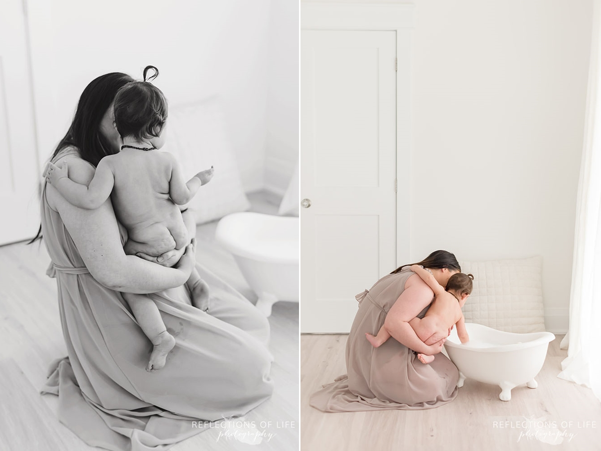 two pictures of baby getting into the bath with her mama in black and white