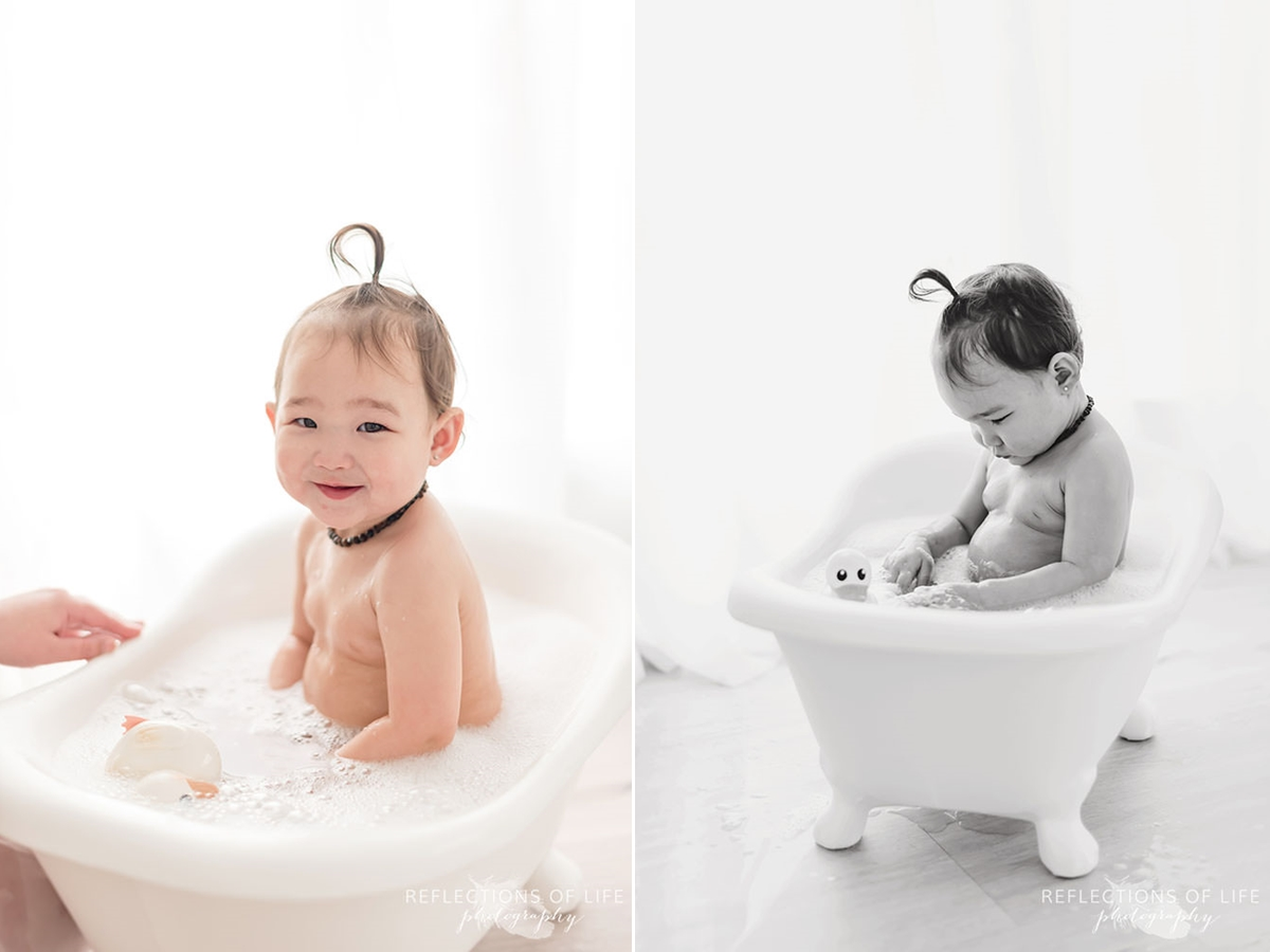 two photos of happy baby in the bath in black and white