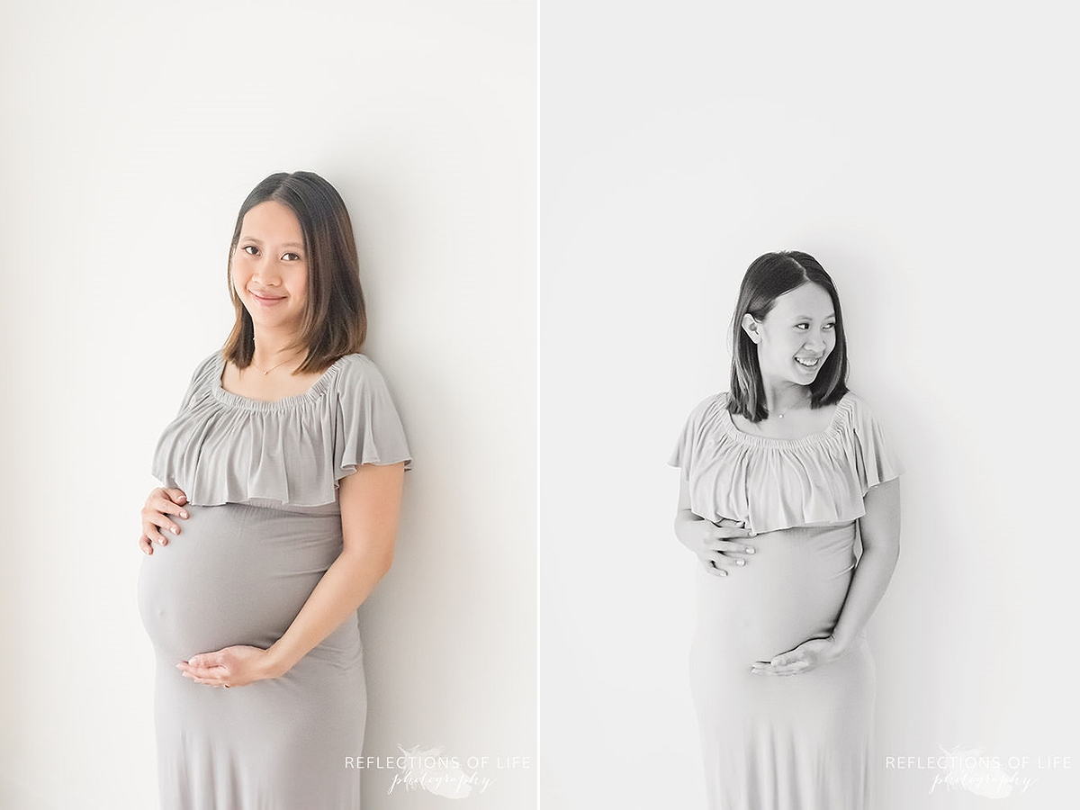 two photos of an expecting mother in black and white as she holds her belly