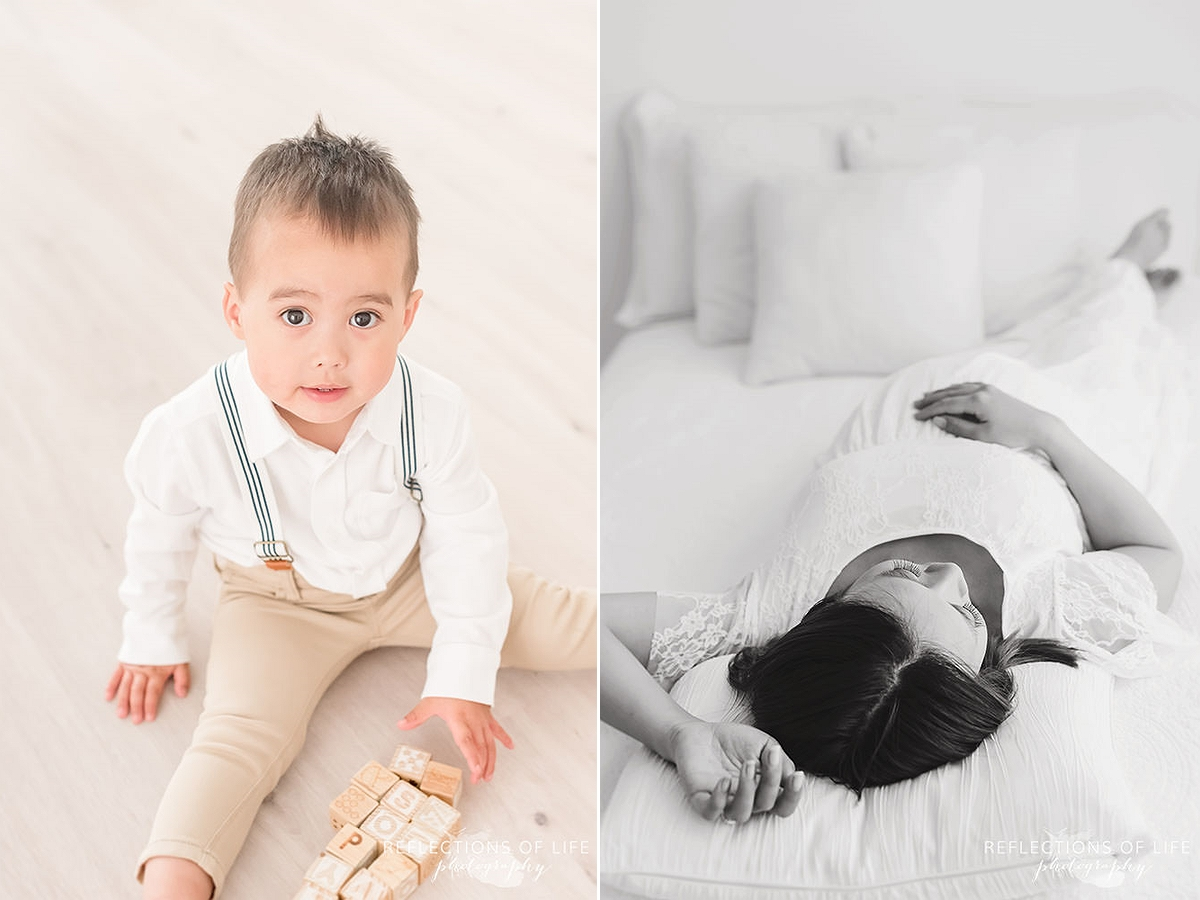two photos of little boy playing with blocks and mama laying on bed in black and white