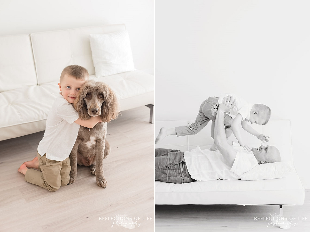 two photos of boy and his dog and him and his father playing on the couch in black and white