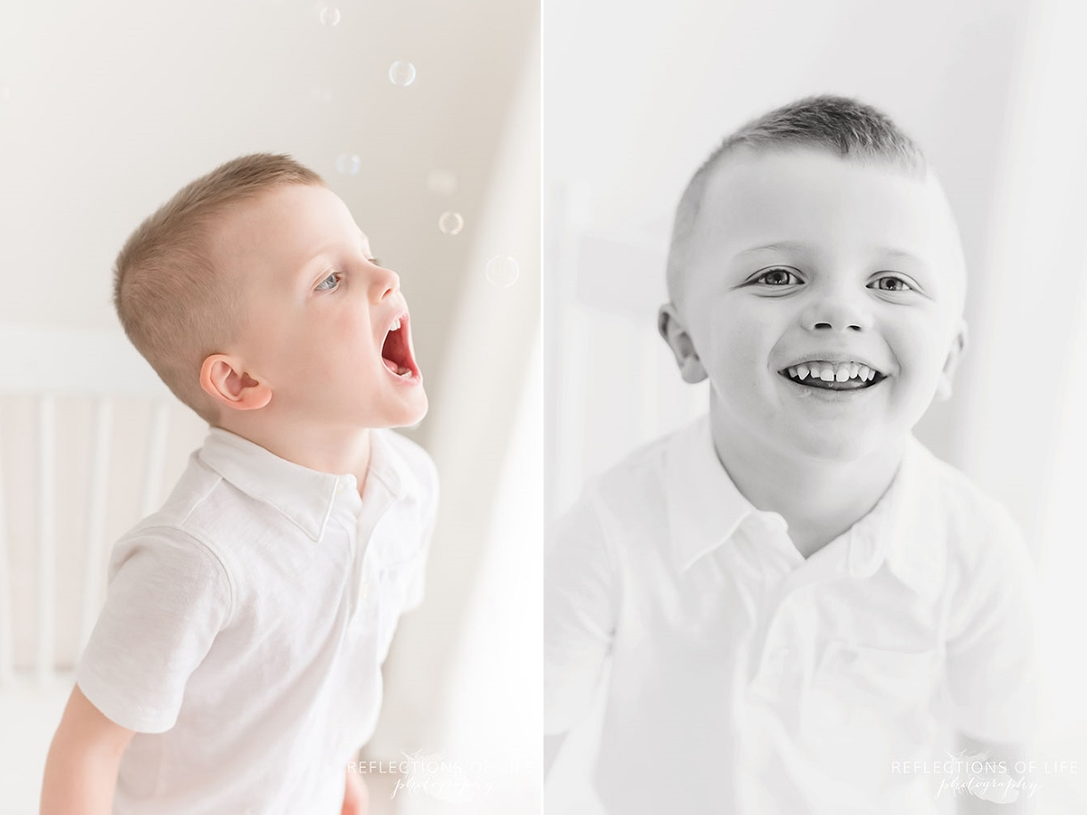 two photos of cute little boy playing with bubbles and him smiling in black and white