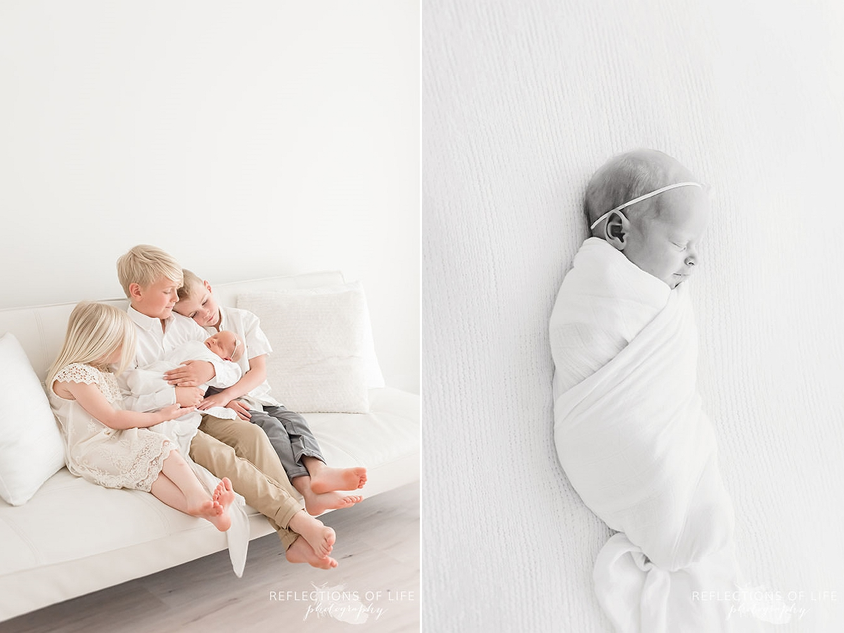 two photos of siblings sitting on the couch holding their sister and a close up of newborn sleeping in black and white