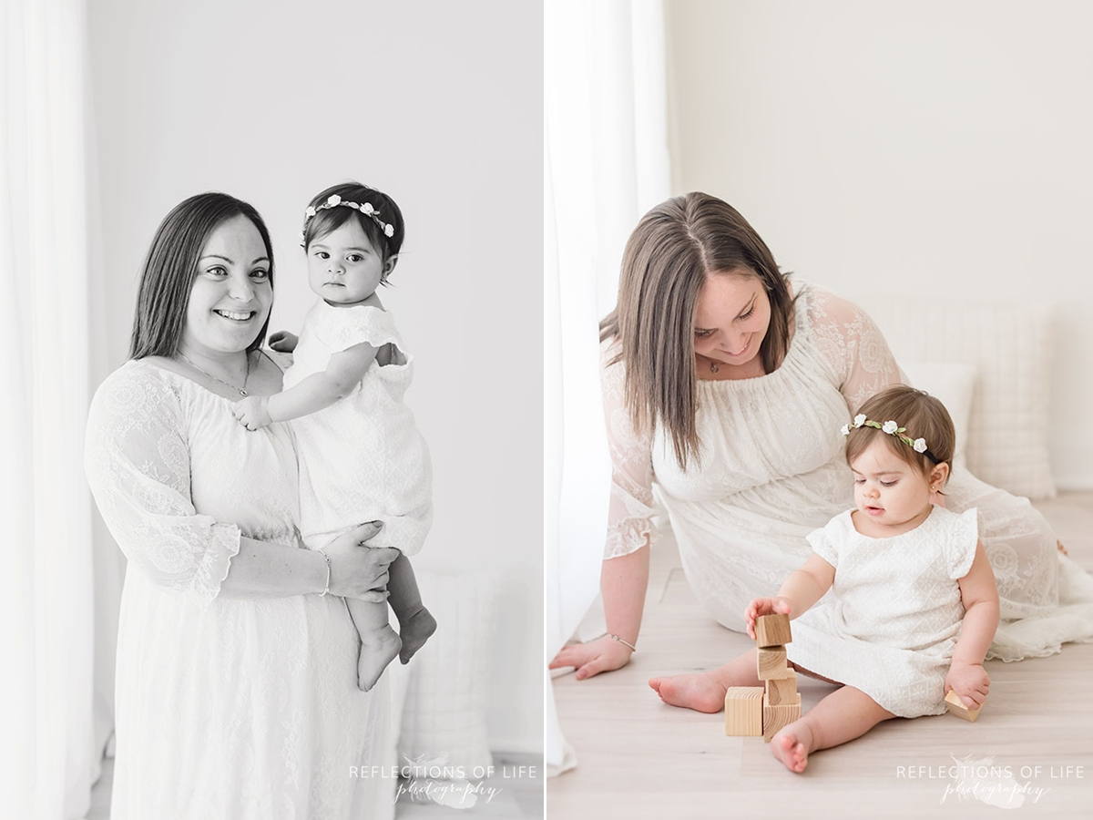 Two pictures of mama holding her baby and her playing blocks in black and white