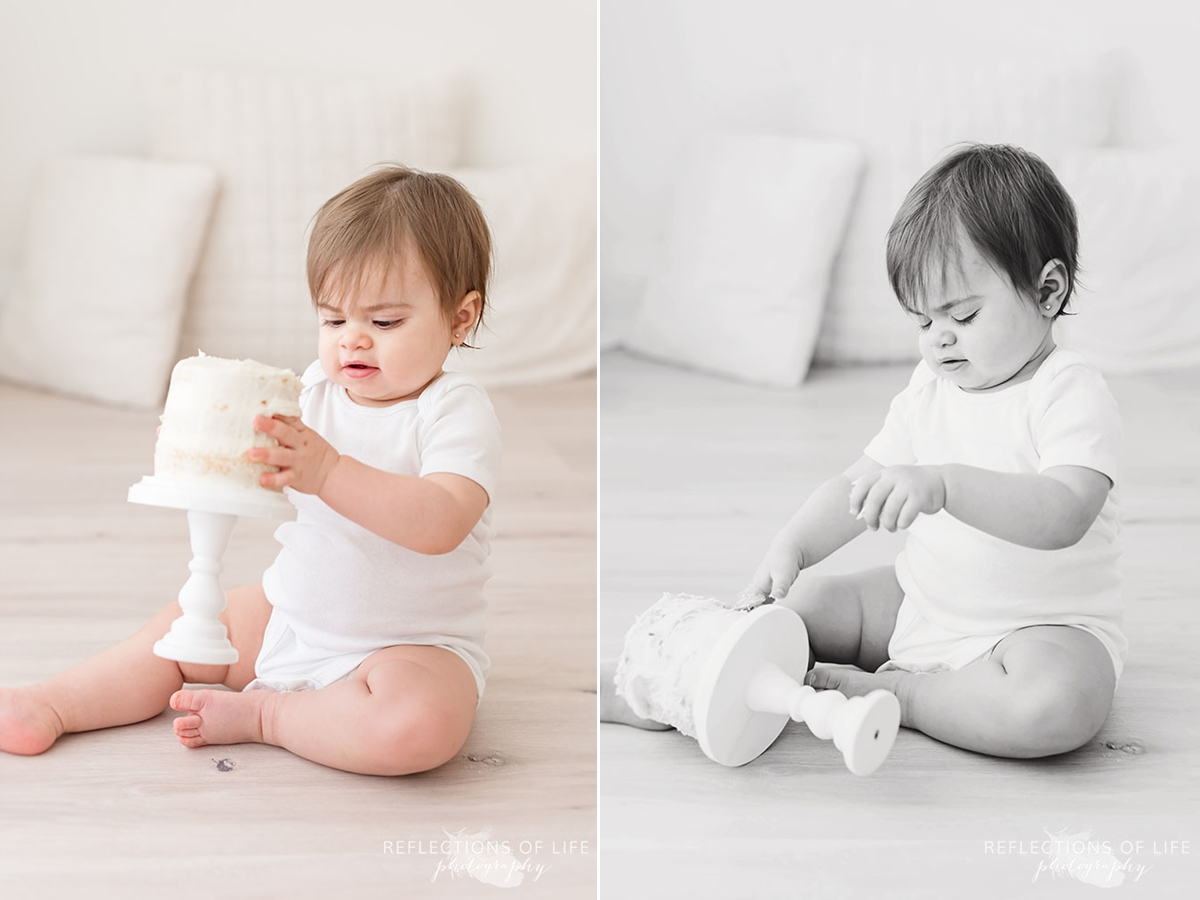 two photos of baby playing with her cake and then dropping it