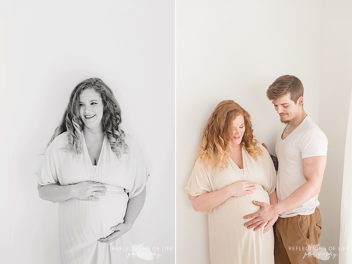 two photos of mama holding her bump than dad holding her bump in black and white