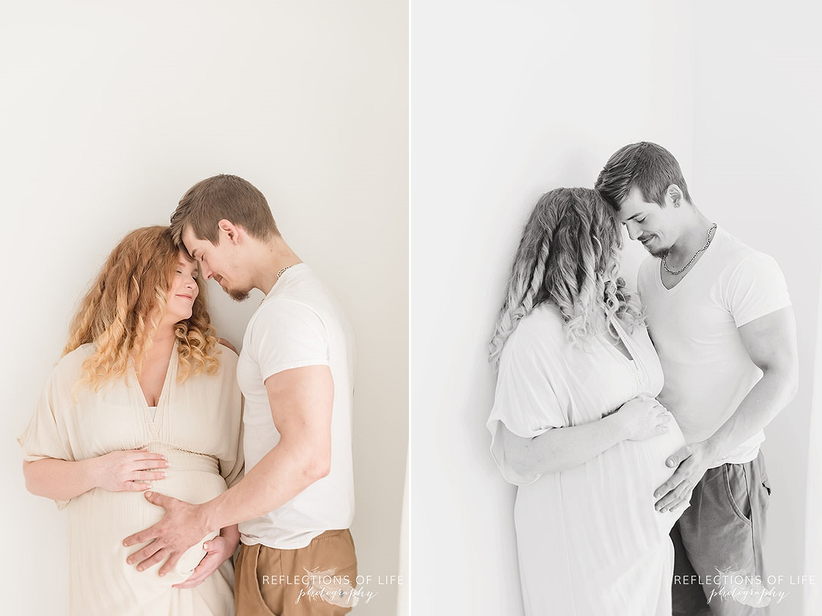 couple touches heads as they share an moment in two photos in black and white